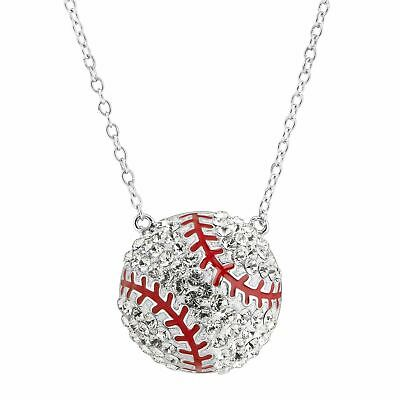 04ef803c7 Crystaluxe Baseball Necklace with Swarovski Crystals, Sterling Silver, ...