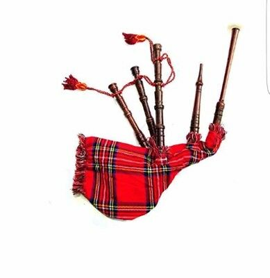 Scottish Highland Rosewood Bagpipe Full Silver Mounts Bagpipes Free Carrying Bag Red Utmost In Convenience