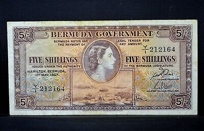 1957 Bermuda 5 Shillings Note ✪ Vf Very Fine ✪ Government 5S Choice ◢Trusted◣