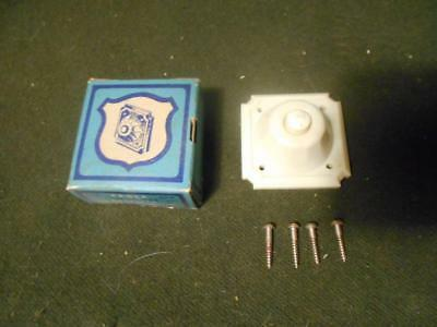 Vintage Eagle #143 CREAM Bakelite Square Push Button Doorbell Original Box NOS