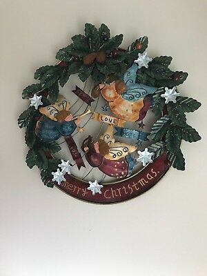 Christmas Wreath Circle Vintage  ENAMEL PAINTED  METAL SIGN WALL PLAQUE