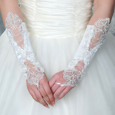Lady Women Formal Bride Wedding Party Dress Fingerless Lace Gloves white new