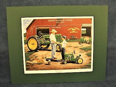 John Deere Pedal Tractor  Art Print - First Tractor - Terry Downs - Matted