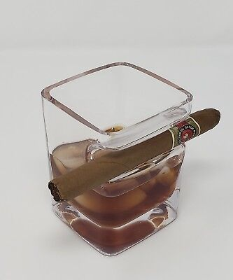 Whiskey Glass with Cigar Holder, Premium Hand Made Liquor Glass Holding Cigars