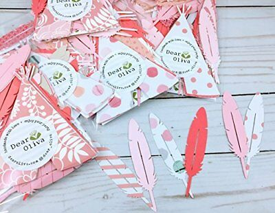 50 Feather Confetti and TeePee Confetti Pink Coral