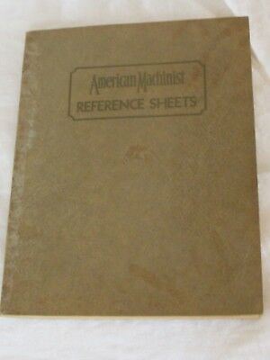 Vintage Antique 1930 American Machinist Reference Sheets Book