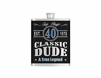 Classic Dude, Vintage Dude, Old Dude Over The Hill 40th Birthday Flask - Steel 7