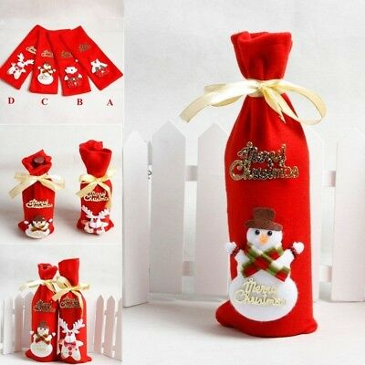 Christmas Red Wine Bottle Cover Santa Claus Storage Bags Home Xmas Table Decor