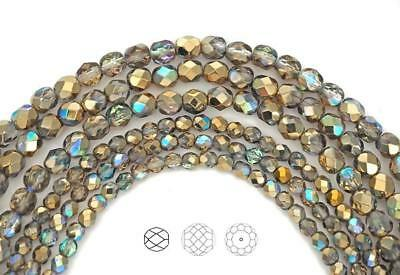 Czech Glass Fire Polished Round Faceted Beads, Crystal Golden Rainbow 3-4-6-8mm