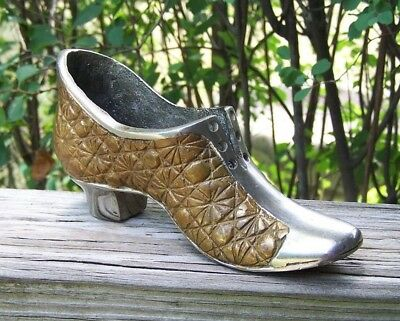Rare Vintage Cast Brass/Bronze Daisy & Button Shoe /  Slipper