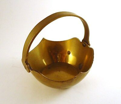 """Vintage Solid Brass Planter Basket  Bowl With Hinged Moveable Handle 2.5"""""""