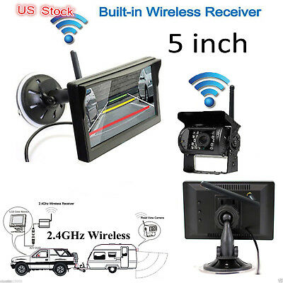 "RV Truck Bus Wireless IR Rear View Back up Camera Night Vision System+5"" Monitor"