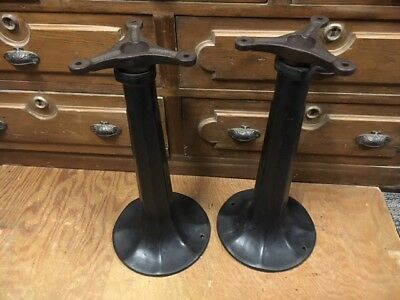 Set of (2) Vintage Cast Iron Soda Fountain Stool Base Table Bases antique