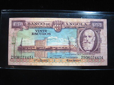 Angola 20 Escudos 1956 P87 Africa Antelope 72# Bank Currency Banknote Money