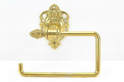 Vintage Solid Polished Brass Toilet Paper Holder With Wall Mount Hang