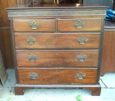 ANTIQUE 18th CENTURY ENGLISH MAHOGANY 5 DRAWER CHEST WITH FRET MOLDING