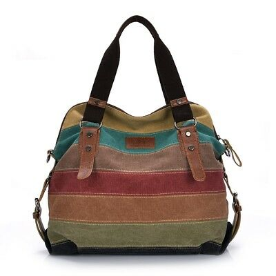 Colorful Women Canvas Shoulder Large Satchel Patchwork Cross Body Messenger Bags