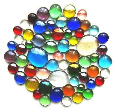 60 x Mixed Rainbow Mosaic Glass Pebbles Gem Stones - Assorted Colours & Sizes