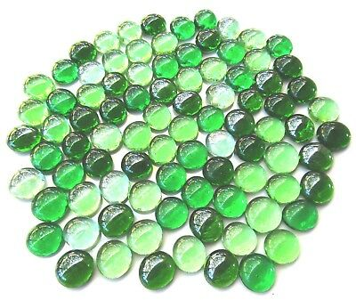 90 x Shades of Botanical Green Art Glass Mosaic Craft Pebbles Gem Stones