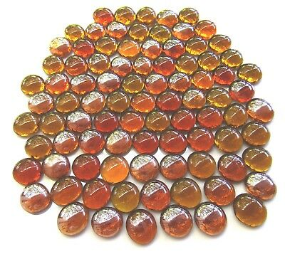 90 x Shades of Ancient Amber Art Glass Mosaic Craft Pebbles Nuggets Gem Stones
