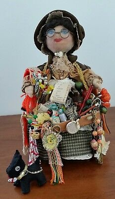 Vintage early 20th Century RARE Papièr Mache Wood NOTION NANNY PEDLAR DOLL