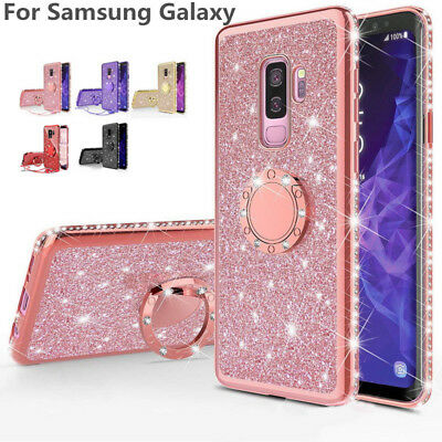 For Samsung Galaxy S9 S8 A8 A6 Note 9 Bling Diamond Ring Holder Hybrid Soft Case