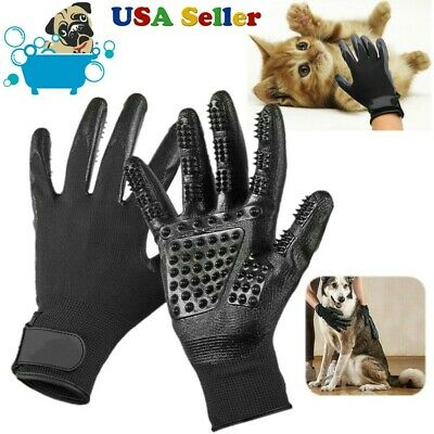 Pet Dog Cat Gentle Deshedding Brush Grooming Glove Massage Hair Fur Removal Tool