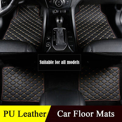 Luxury PU leather Car Floor Mats Universal Auto  Carpet Mat Protect Waterproof