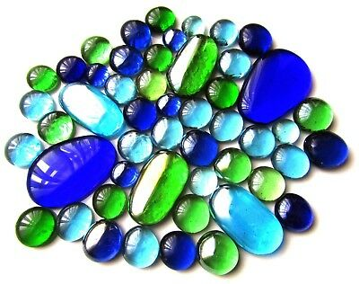 50 x Cool Shades of Blue & Green Various Shapes & Sizes Glass Mosaic Gem Stones