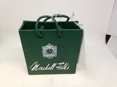 "Marshall Field's SHOPPING BAG CHRISTMAS ORNAMENT Green 3.5"" x 3"" NEW with TAG"