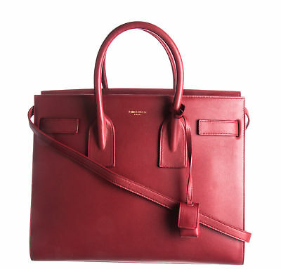 364fb32adb4 New With Tags YSL, YVES SAINT LAURENT Red Calfskin Leather Sac De Jour Tote  Bag