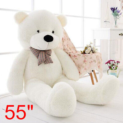 55'' Big Teddy Bear White Plush Soft Toys Doll Only Cover Case No Filled Gift US