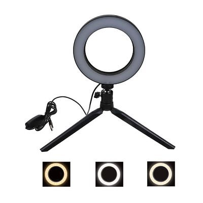 "6"" LED Ring Light with Stand 5500K Dimmable Lighting for Makeup Phone Camera US"