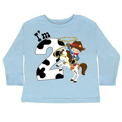 71f88106f Inktastic I'm Two-cowboy Riding Horse Birthday Toddler Long Sleeve T-Shirt