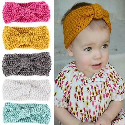 Soft Kids Girl Baby Toddler Crochet Bow Headband Hair Band Accessories Winter @Y