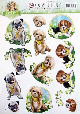 A4 DIE CUT 3D PAPER TOLE DECOUPAGE Push Out Sheet Sweet Dog Collection Puppy