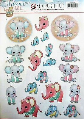 A4 DIE CUT 3D PAPER TOLE DECOUPAGE Push Out Sheet Welcome Baby Elephant Children