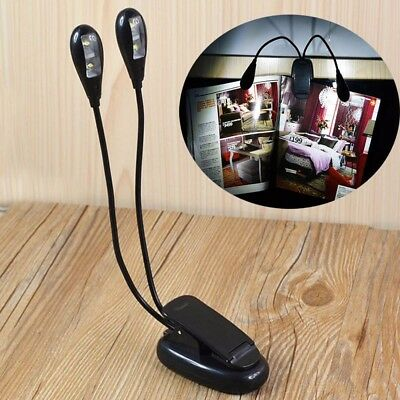 2 Dual Flexible Arms 4 LED Clip-on Light Lamp for Piano Music Stand Book