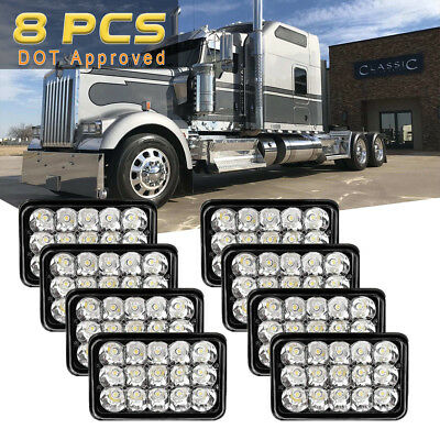 """4""""x6"""" inch 15 LED Headlights CREE Clear Chrome Beam Replace High/Low Beam 4Pairs"""