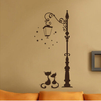 Lover Cat Lantern Home Laundry Room Vinyl Wall Sticker Removable Art Decal N7