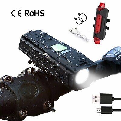 MTB Road Bike Cycle USB Rechargeable LED Head Front Light Rear Tail Safety Lamp
