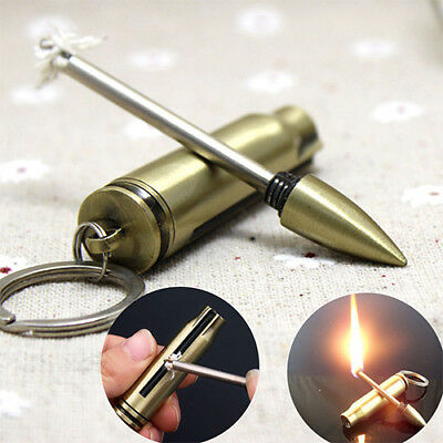 Emergency Fire Starter Matches Bullet Lighter Keychain Survival Tool Safety