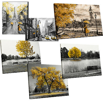 Large Yellow black white Home Decor Nature Framed Canvas Print Wall Art multi