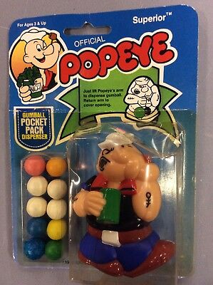 Popeye , 1983 King Features Syndicate, Gumball Pocket Pack Dispenser, Superior