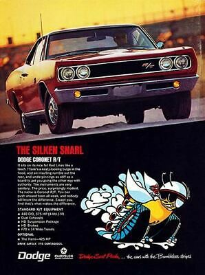 1968 Dodge Coronet RT #100978   Vintage Car Poster Print Art Sign Wall Garage