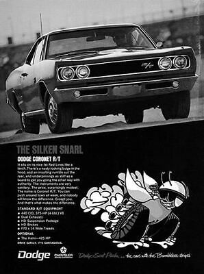 1968 Dodge Coronet RT #100979   Vintage Car Poster Print Art Sign Wall Garage