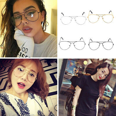 Ladies CLASSIC VINTAGE RETRO AVIATOR Clear Lens EYE GLASSES Gold Metal Frame F