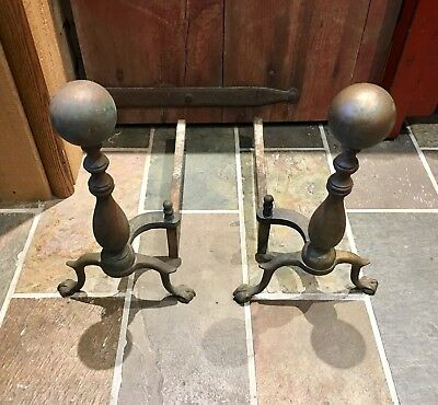 """Antique Pair Solid Brass and Cast Iron Andirons Claw Feet 17"""" tall"""
