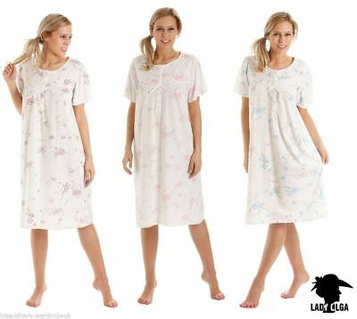Ladies Womens Jersey Cotton Rich Floral Short Sleeve Nightdress Size 10-36 0104