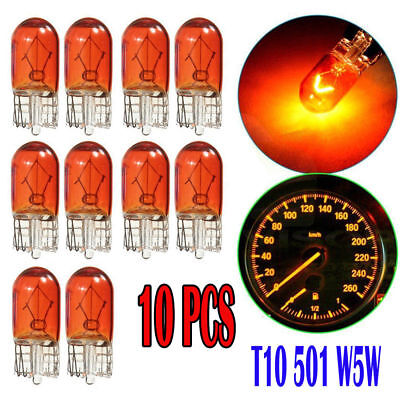 10x Hot W5W T10 501 194 Side Marker Light Amber Glass Bulb Car Halogen Bulbs 12V